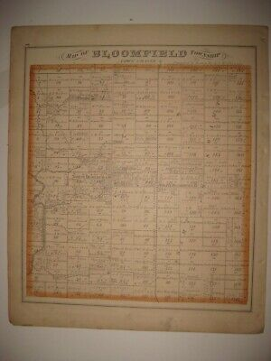Antique 1874 Bloomfield Township Trumbull County Ohio Handcolor Map Warren Print