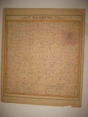 Antique 1874 Bazetta Mecca Township Cortland Trumbull County Ohio Handcolor Map