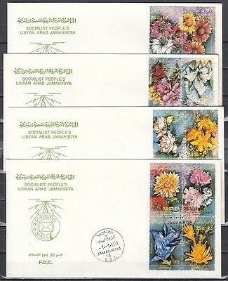 Libya, Scott cat. 1052 A-P. Flowers issue. 4 First day covers. *