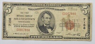 Series 1929 $5 First National Bank of Millerstown PA National Bank Note *3977