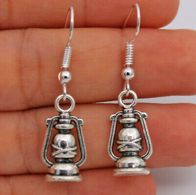 Hot Lamps Light  Retro Silver Tone Pageant Earrings With 925 Silver Plated #01