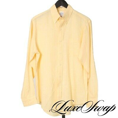 LNWOT Brooks Brothers Slim Fit 100% Irish Linen Lemon Yellow Summer Shirt M NR