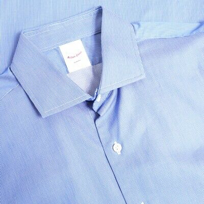 Brooks Brothers Golden Fleece Slim Fit Italian Cotton Blue Microstripe Shirt 16