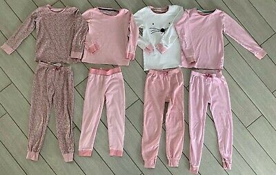 4 x Pairs of Next Girls Pink Pyjamas - Size 7-8 Years