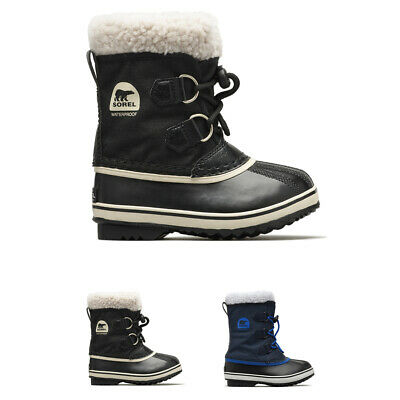 Unisex Kids Sorel Youth Pac Nylon Snow Waterproof Fur Lined Ankle Boots UK 13-6