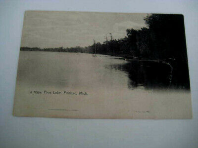 [N1] Vtg travel vacation postcard Michigan- Pine Lake Pontiac Mich MI photo