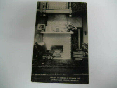 [G3] Vtg travel vacation postcard Michigan - inside ROTUNDA INN Pine Lake photo