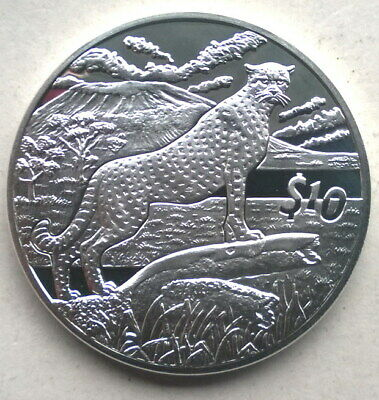 Sierra Leone 2007 Cheetah 10 Dollars Silver Coin,Proof
