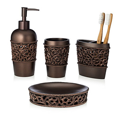 4PCS Bathroom Accessory Set Toothbrush Holder Lotion Dispenser Tumbler Soap Dish