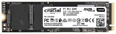 Crucial P1 1TB 3D NAND NVME PCIe M.2 SSD NEW