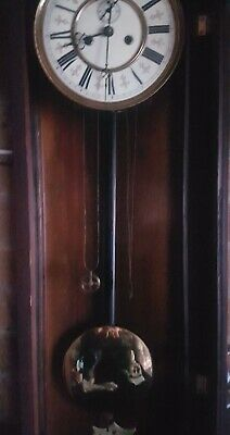 vienna mahogany wall clock good cond  collect from le675gf