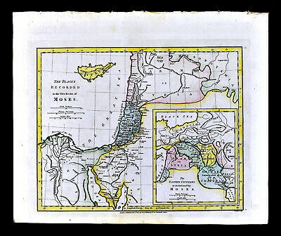 1817 Wilkinson Map Places mentioned by Moses Old Testament Bible Canaan Israel