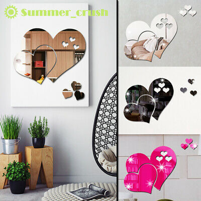 3D Mirror Love Hearts Wall Sticker Decal DIY Home Mural Removable Decor Room Art