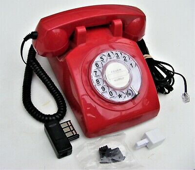 1970s-style Retro GPO 746 Rotary Landline Phone - Curly Cord, Authentic Bell Rin
