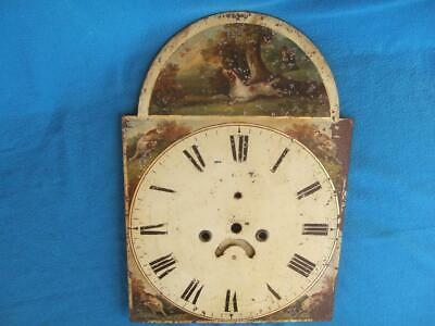 """Antique Painted Longcase Clock Dial, 18.5"""", Dogs & Hunter"""