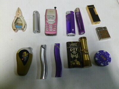 13 Assorted Lighters Including Poker Chip and Cell Phone