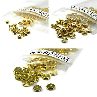 50 Gold Flat Spacer Heishi Rondelle Disc Jewelry Beads Plated over Brass Metal