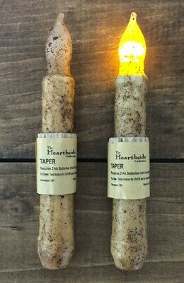 """Set of 2 LED Battery TIMER Taper Flicker Candle - Grungy Burnt Ivory 6""""- 6.5"""""""