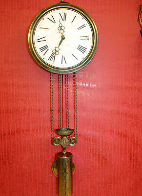 Old Wall Clock type Comtoise in brass and Dial in enamel ceramic*DUBOIS SAVERNE*