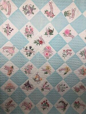 Vintage Handmade Quilt 50 States  96 X 74 Hand Embroidered And Hand Quilted
