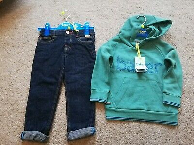 Baker by Ted Baker BNWT Boys Dark Blue Jeans and Hooded Logo Top Age 2-3 years