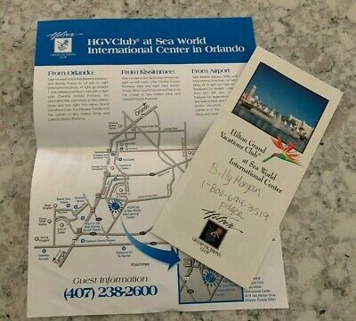 Vintage 1990s Sea World Hilton Grand Vacations Club Orlando Florida Brochure Map