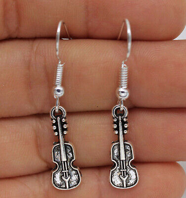 925 Silver Plated Hook -1.6'' Violin Carved Swirl Retro Silver Earrings #01