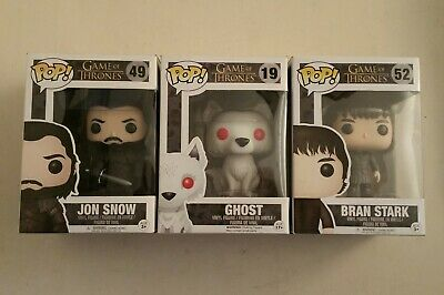 FUNKO POP! # 49 Jon Snow / 19 Ghost / 52 Bran Stark Game Of Thrones Figures Lot