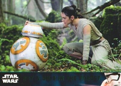 Star Wars Force Awakens Chrome Refractor Base Card #63 Rey /& BB-8 in the Forest