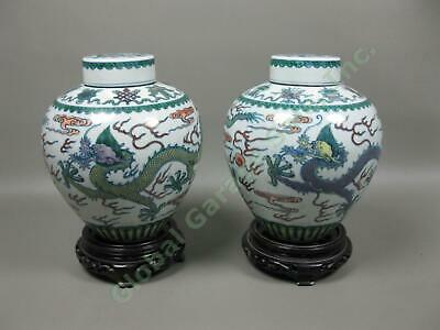 2 Vintage Antique Chinese Green Dragon Covered Porcelain Vases Pair SIGNED Set