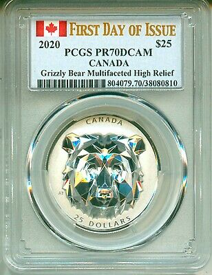 2020 Canada S$25 Multifaceted Grizzly Bear First Day Of Issue HR PCGS PR70 DCAM