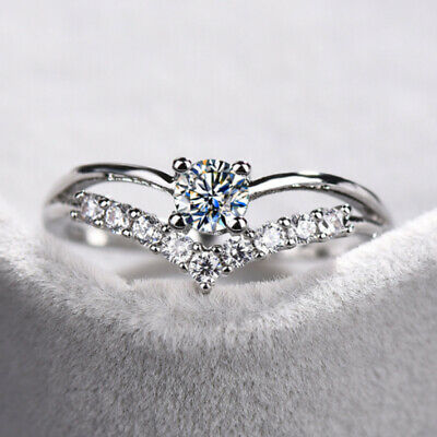 925 Sterling Silver V-Heart AAA Zircon Diamond Rings Womens Wedding Jewelry M