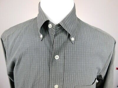 Brooks Brothers Gray Casual Button Front Long Sleeve Shirt Size M 100% Cotton