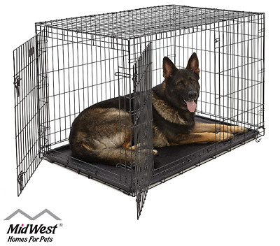 Dog Crate Kennel Cage Single, Double Door , Folding Metal Playpen Fully Equipped
