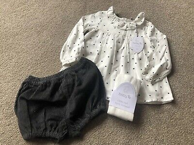 TU Baby Girls Cord Shorts, Star Smock Top & Tights Outfit Age 6-9 Months BNWT