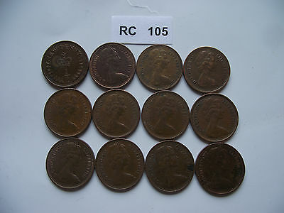 Great Britain. 12 Coins @ Half Penny. Run Of The Years (1971-1982) #Rc105-Rc107