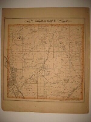 Antique 1874 Liberty Township & Girard Trumbull County Ohio Handcolored Map Fine