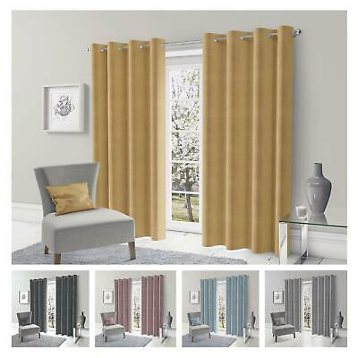 Semi-Blackout Eyelet Curtains Plain Thermal Ready-Made Ring-Top Curtain Pairs