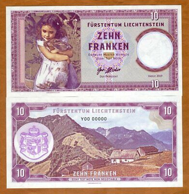 Liechtenstein 10 Francs 2019 Private issue Girl with a rabbit Y00 00000 S/Ns