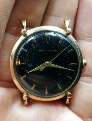 Rare Black Dial Seth Thomas mens Watch Fancy Lugs 10k Gold Filled For Repairs