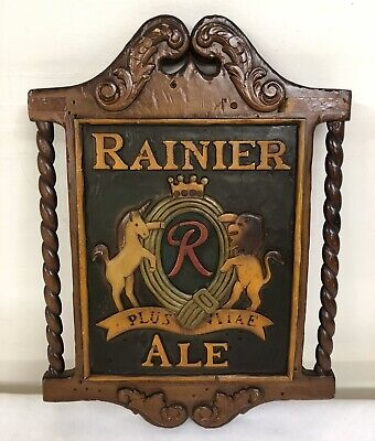 "Vintage ""RAINIER ALE"" Sicks Rainier Brewing Co Beer Sign Unicorn Lion Seattle Wa"