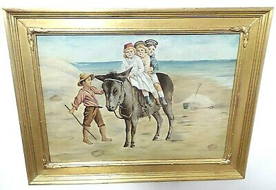 Antique Primitive  Painting On Millboard Signed And Framed  Children On Donkey