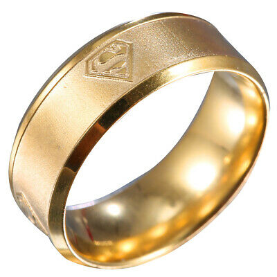 Men Cool Superman Stainless Steel Titanium Band Ring Wedding Party Size 8