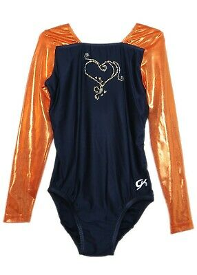 GK Elite Jeweled Sunshine Mystique//Navy Gymnastics Leotard AS Adult Small 4119