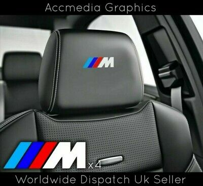 4 X BMW M SPORT M1 M2 M3 M4 M5 M SEAT BADGES car stickers decals vinyl EMBLEMS