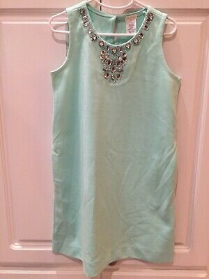 CREWCUTS Girl's Size 8 Mint Green Shift Dress With Embellished Neckline Pretty