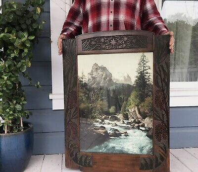 Antique Pair Large Carved Arts & Crafts Wood Frames & Mountain River Photos