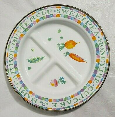MacKenzie Childs Toddler Sweet Pea Honeypie Endearment Enamel Divided Dish Plate
