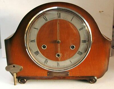 Vintage Smiths BR Presentation Oak Westminster Chimes Mantel Clock Circa 1950's