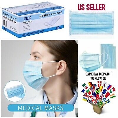50 Pcs Disposable 3-Ply Medical Surgical Dental Anti-Dust Face Masks